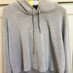 Brandy  Melville  Grey Hooded Cropped Sweater